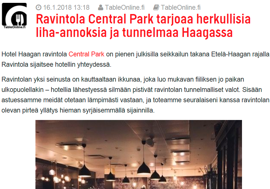hyvä illallinen Helsinki